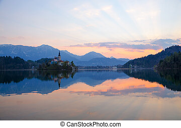 Amazing sunrise at the lake Bled