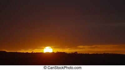 Amazing sunrise over the fields