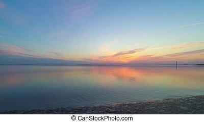 Amazing sunrise over water