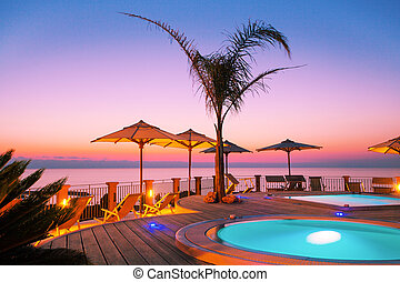 Amazing sunset as seen from the pool