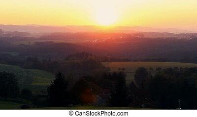 Amazing sunset on hills, Czech autumn landscape