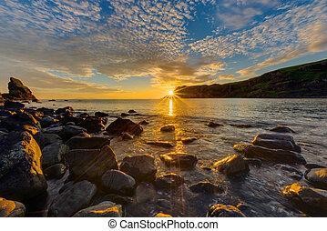 Amazing sunset on the Isle of Skye in Scotland