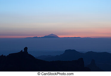 amazing sunset over Teide on Tenerife