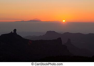 amazing sunset over Teide on Tenerife