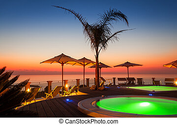 Amazing sunset view from italian hotel