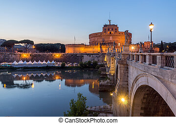Amazing Sunset view of St. Angelo Bridge and castle st. Angelo in city of Rome