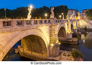 Amazing Sunset view of St. Angelo Bridge in city of Rome