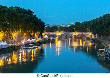 Amazing Sunset view of Tiber River in city of Rome