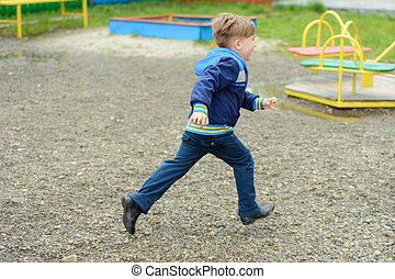 Amazing Ukrainian boy running around the playground