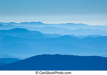 Amazing view from Clingman's Dome, Great Smoky Mountains National Park, Border of North Carolina and Tennessee