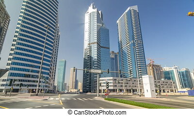 Amazing view of Dubai Skyline timelapse hyperlapse. Residential and Business Skyscrapers in Downtown