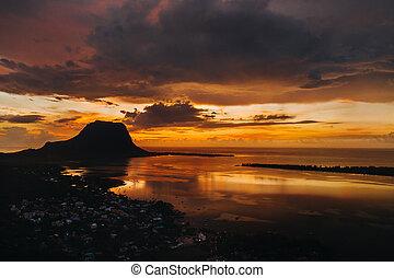 Amazing view of Le Morne Brabant at sunset. Mauritius island...