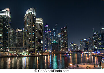 Amazing view of night Dubai.