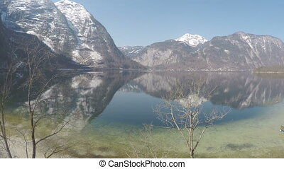 """""""Amazing view of snowy Austrian Alps reflection in water, beautiful national park"""""""