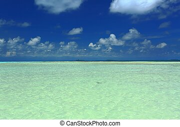 Amazing view of turquoise water of Indian Ocean and blue sky with white clouds. Maldives. Beautiful nature background.