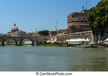 Amazing view of Vatican and Tiber River in city of Rome,