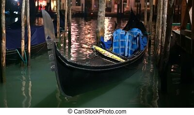 Row of gondolas and glowing streets. Italy, Europe - Amazing...