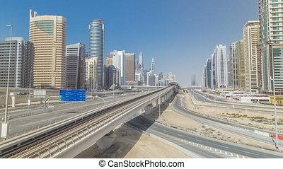Amazing view on Sheikh Zayed road surrounded Dubai Marina...