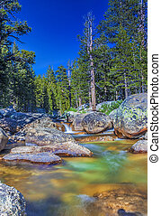 Amazing Water Streams Shot in Yosemite National Park in California. Long Shutter Speed Used. HDR Toning