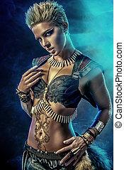 amazon conqueror - Portrait of a beautiful female warrior....