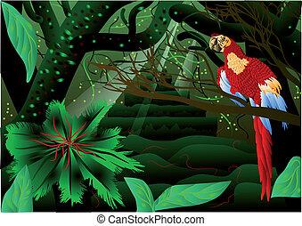 Amazon forest. Colorful jungle landscape. 10 EPS