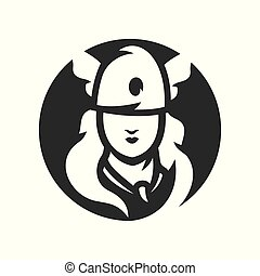 Amazon girl silhouette sign - Woman in a helmet holding...