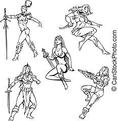 Amazon girls - Armed Amazon Girls. Set of black and white...