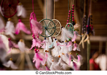 Amazon jungle dream catcher moved by wind