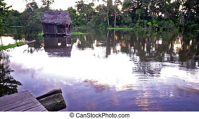 Amazon Rain Forest - River passing by a floating building...