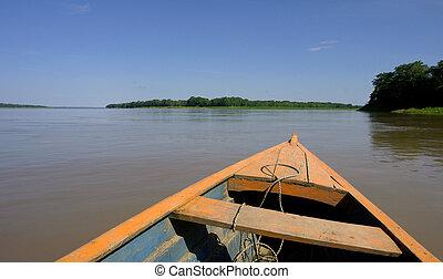 Amazon river landscape, near Leticia (Colombia-Brazil-Peru...