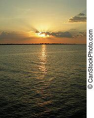 Amazon sun, sky and water