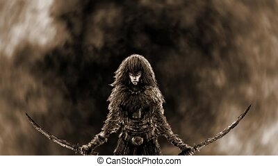 Amazon witch with two blades against the backdrop of...