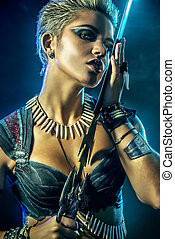 amazon woman - Portrait of a beautiful female warrior in...