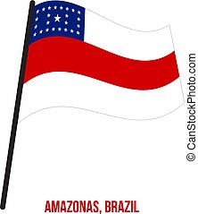 Amazonas Flag Waving Vector Illustration on White Background. States Flag of Brazil