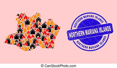 Amazonas State Map Collage of Fire and Realty and Grunge Northern Mariana Islands Seal Stamp