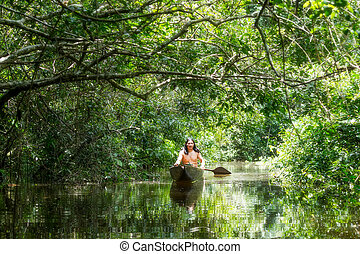 amazone, indigène, bassin, homme, canoë