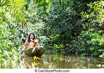 amazone, indigène, transport, canoë
