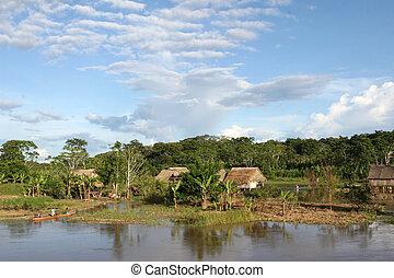 amazone, indigène, -, village