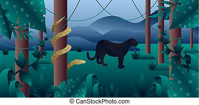 Amazonia forest with panther and python - Amazonia forest...