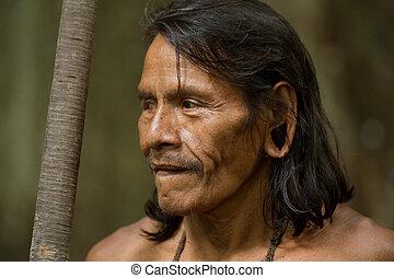 Amazonian Indigenous Waorani Hunter - Huaorani Male Portrait...