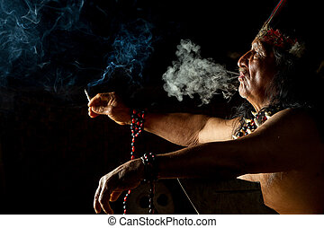 Shaman In Ecuadorian Amazonia During A Real Ayahuasca Ceremony Model Released Image As Seen In April 2015