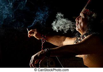Amazonian Shaman Portrait - Shaman In Ecuadorian Amazonia...