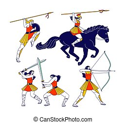Amazons Female Characters with Spears, Bow and Swords Fighting, Riding Horse I. Greek Mythological Warriors Personages