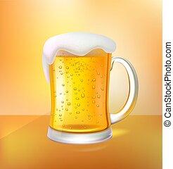 ambacht, schuim, bier glas, mok, vector, koel, 3d