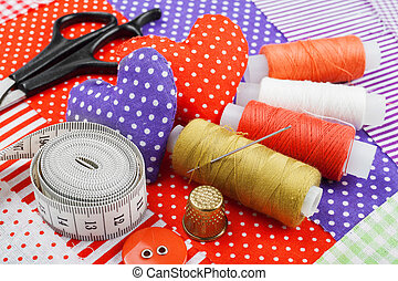 ambacht, weefsel, items, naaiwerk, textiel, materialen, hartjes