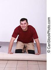 ambachtsman, het leggen, tapijt