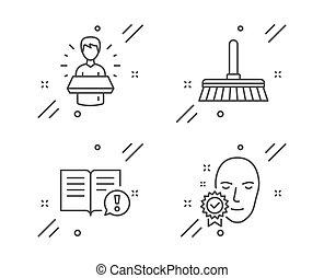 ambassadeur, vérifié, icônes, faits, marque, lavette, figure, vecteur, nettoyage, signe., set.