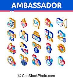 ambassadeur, vecteur, créatif, ensemble, icônes, isométrique