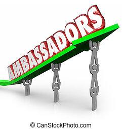 Ambassadors 3d Words People Lifting Arrow Diplomats ...