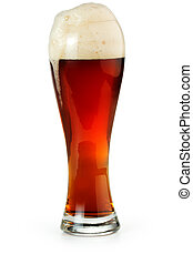 amber ale - pint of red beer isolated on white background